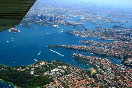 Light Aircraft Scenic Training Flight over Sydney Harbour -