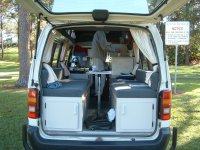 van rear set up for daytime