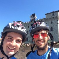 My brother and I in one of out travel by bike in Italy