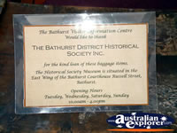 Bathurst Visitor Centre Coach Plaque . . . CLICK TO ENLARGE