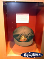 The Bradman Museum at Bowral Hat in Glass Case . . . CLICK TO ENLARGE
