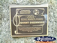Tamworth Johnny Greenwood Award . . . CLICK TO ENLARGE