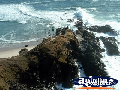 View from Byron Bay Lighthouse of Cape Byron . . . CLICK TO VIEW ALL BYRON BAY (LIGHTHOUSE) POSTCARDS