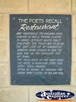 Gundagai, Poets Recall Motel Restaurant Plaque . . . CLICK TO ENLARGE
