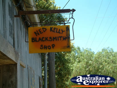 Jerilderie, Ned Kelly Blacksmith Shop Sign . . . VIEW ALL JERILDERIE PHOTOGRAPHS