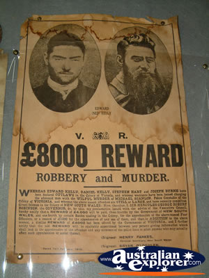 Reward Poster at Ned Kelly Blacksmith Shop in Jerilderie . . . VIEW ALL JERILDERIE PHOTOGRAPHS