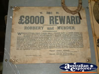 Reward Poster at Ned Kelly Blacksmith Shop . . . CLICK TO ENLARGE