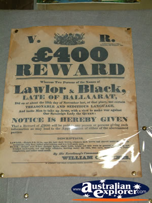 Ned Kelly Blacksmith Shop Reward Poster . . . VIEW ALL JERILDERIE PHOTOGRAPHS