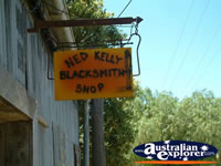 Jerilderie, Ned Kelly Blacksmith Shop Sign . . . CLICK TO ENLARGE