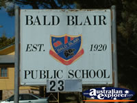 Guyra, Bald Blair School Sign . . . CLICK TO ENLARGE