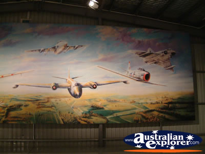 Temora Aviation Museum Painted Mural . . . CLICK TO VIEW ALL TEMORA POSTCARDS