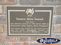Temora Paleface Park Plaque . . . CLICK TO ENLARGE
