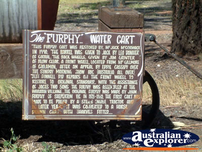 West Wyalong Waratah Village Water Cart Sign . . . CLICK TO VIEW ALL WEST WYALONG POSTCARDS