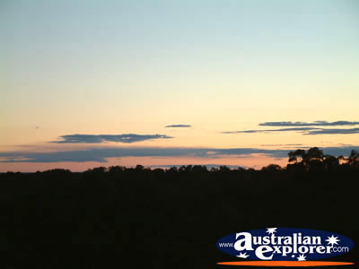 Narrandera, Lake Talbot Caravan Park at Dusk . . . CLICK TO VIEW ALL NARRANDERA POSTCARDS