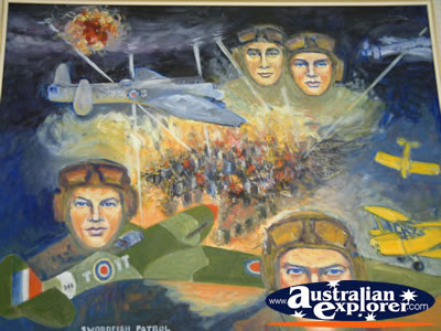 Narrandera Tiger Moth Memorial Mural . . . CLICK TO VIEW ALL NARRANDERA POSTCARDS