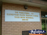 Narrandera Tiger Moth Memorial Sign . . . CLICK TO ENLARGE