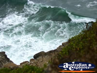 Waves breaking on the headland at Cape Byron . . . CLICK TO ENLARGE