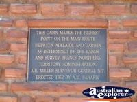 Highest Point between Adelaide & Darwin Plaque . . . CLICK TO ENLARGE