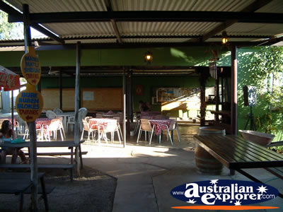 Daly Waters Pub outdoor area . . . CLICK TO VIEW ALL DALY WATERS POSTCARDS