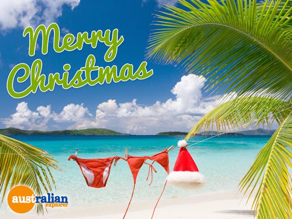 Christmas Beach Bikini Virtual Postcard Christmas Beach