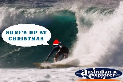 Surfing at Christmas . . . CLICK TO VIEW ALL CHRISTMAS POSTCARDS