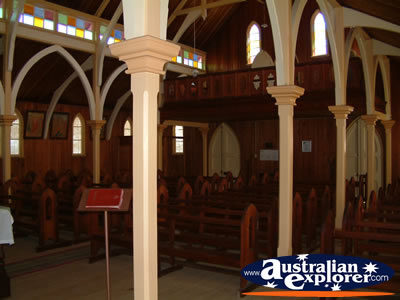 Mt Perry Historic Church Inside . . . CLICK TO VIEW ALL MT PERRY POSTCARDS
