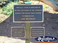 Jandowae Memorial Clock Sign . . . CLICK TO ENLARGE