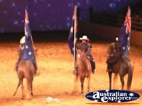 Australian Outback Spectacular Horses with Flags . . . CLICK TO ENLARGE