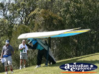 Tamborine Mountain Hand glider preparing for takeoff . . . CLICK TO ENLARGE