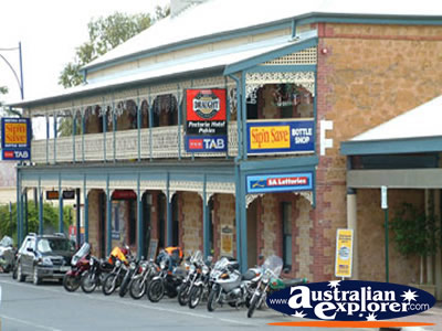Mannum Bikes Outside Hotel . . . CLICK TO VIEW ALL MANNUM POSTCARDS
