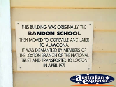 Loxton Historical Village School Sign . . . CLICK TO VIEW ALL LOXTON POSTCARDS