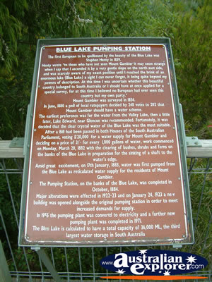 Mount Gambier Blue Lake Plaque . . . VIEW ALL MOUNT GAMBIER PHOTOGRAPHS