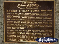 Beechworth Burke Museum Plaque . . . CLICK TO ENLARGE