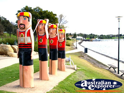 Lifeguard Statues on Geelong Harbour . . . CLICK TO VIEW ALL GEELONG (ESPLANADE) POSTCARDS