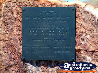 Lake Argyle Ord River Dam Plaque . . . CLICK TO VIEW ALL LAKE ARGYLE POSTCARDS