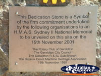 Plaque at Geraldton HMAS Sydney Memorial . . . CLICK TO ENLARGE