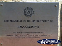 Plaque at the HMAS Sydney Memorial in Geraldton . . . CLICK TO ENLARGE